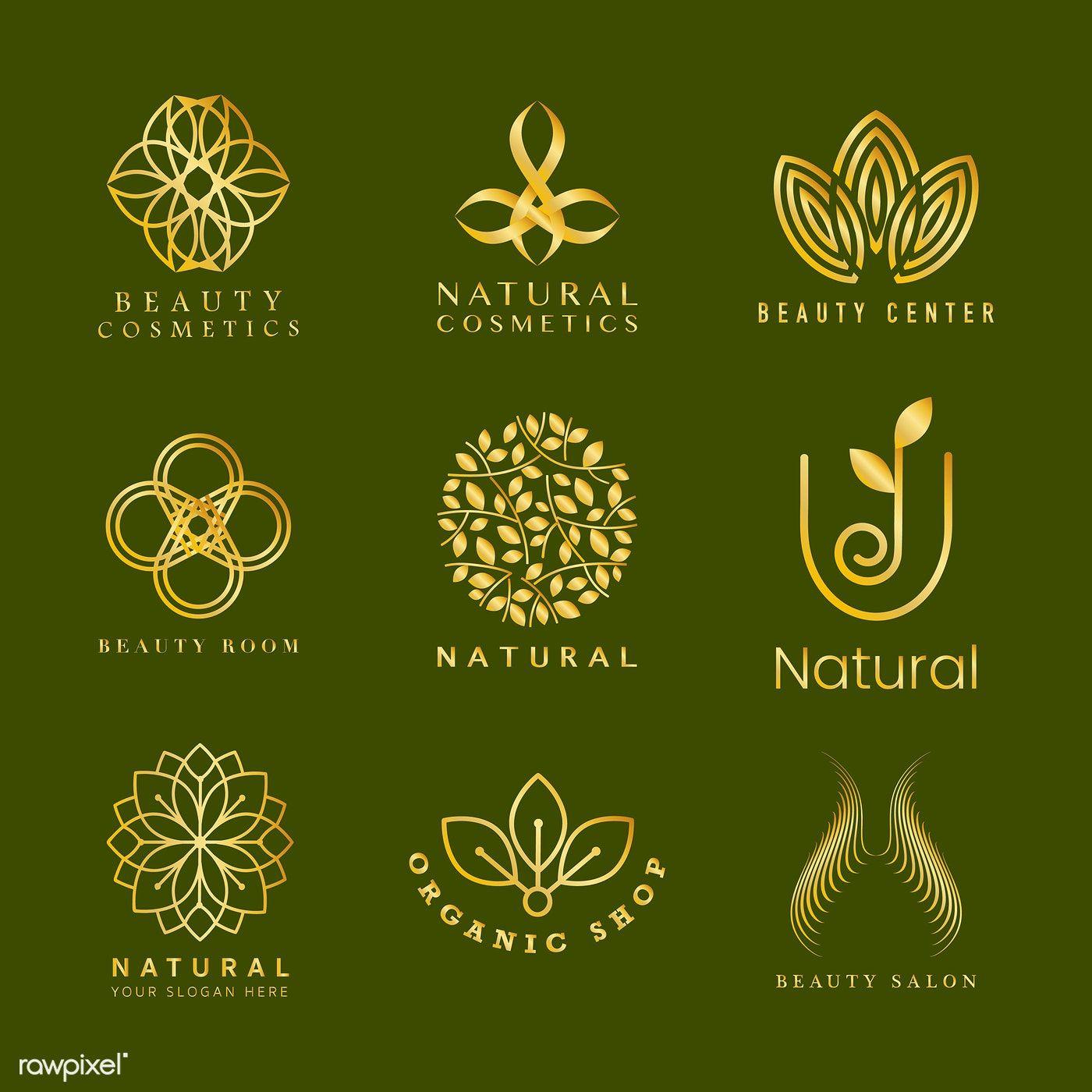 Download premium vector of Set of natural cosmetics logo