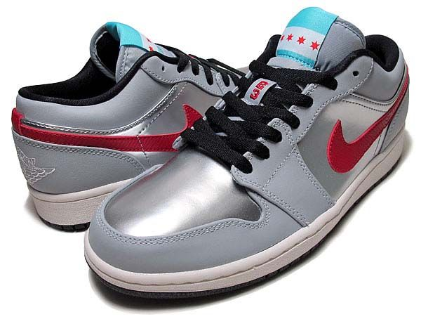 NIKE AIR JORDAN 1 LOW CITY PACK-CHICAGO  WOLF GREY   GYM RED-METALLIC  SILVER-BLACK  (641888-005) 76e15de687a