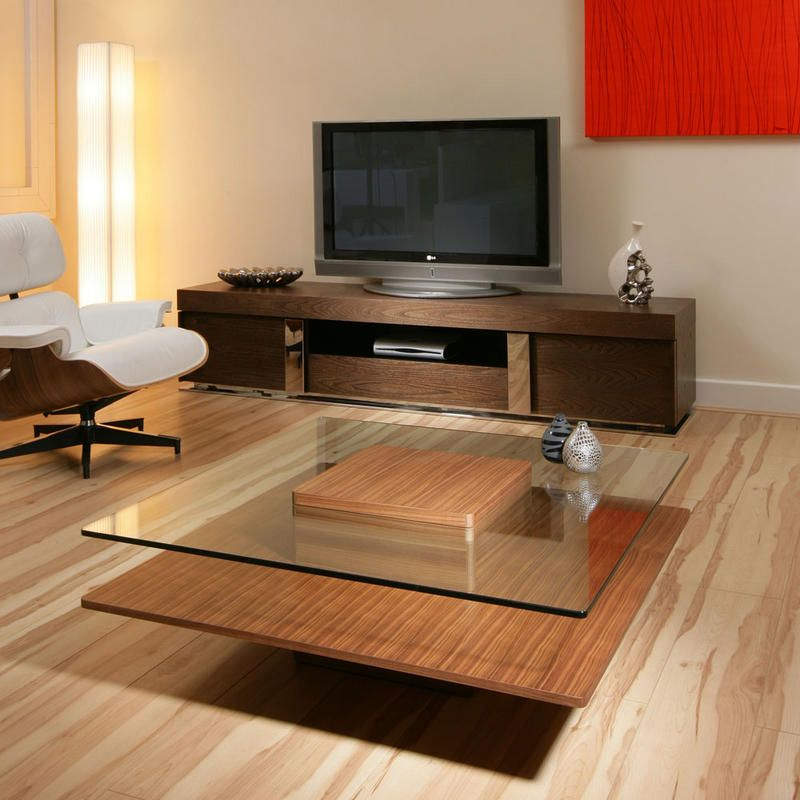 Coffee Table Large Square Walnut Glass Modern Designer AG