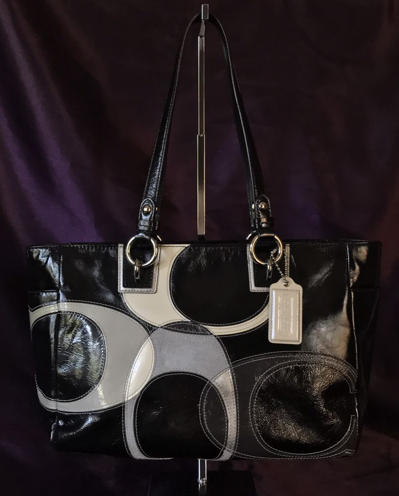 Coach F17127 Patent Leather Tote Inlaid Logo Black White Gray Tote Shoulder  Bag   eBay d8c9feabcb