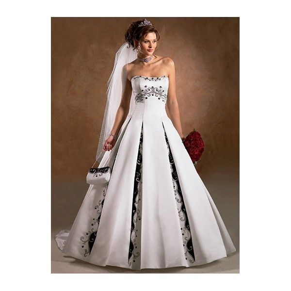 Black White Embroidered Satin Ball Gown Wedding Dress
