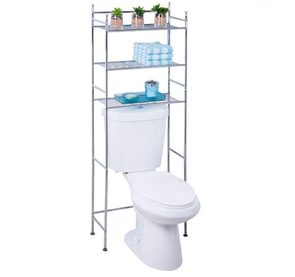 Over the Toilet Storage Space Saver Shelf Chrome 3-Tier Metal ...