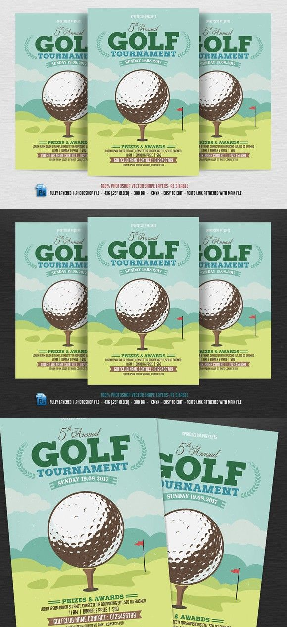 Golf Tournament Flyer Poster Templates   Work Flyers