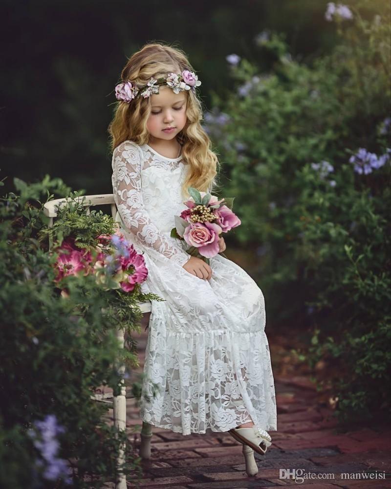 2017 Elegant White Ivory Lace Long Sleeve Girls First Communion Dresses For Weddings Floor Length Vestidos Flower Girl Pageant Dresses From Mfsdresses 80 92 Flower Girl Pageant Dress Wedding Dresses For [ 1297 x 800 Pixel ]