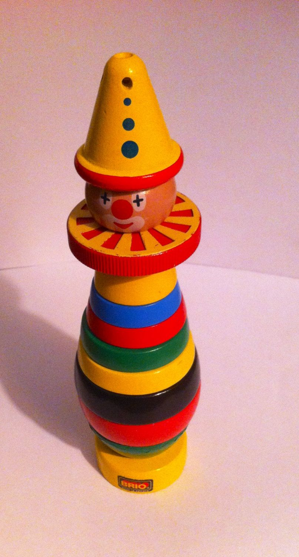 Vintage Brio Wooden Stacking Clown Made In Sweden