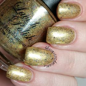 Lavish Polish - Golden Mermaid (Awesome Sauce Indie Box - Mermani Box) (gold holo filled with a mix of different multichrome flakies and gold holo and red microglitter)