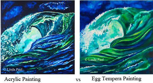 ocean wave painting art showdown acrylic vs egg tempera for the