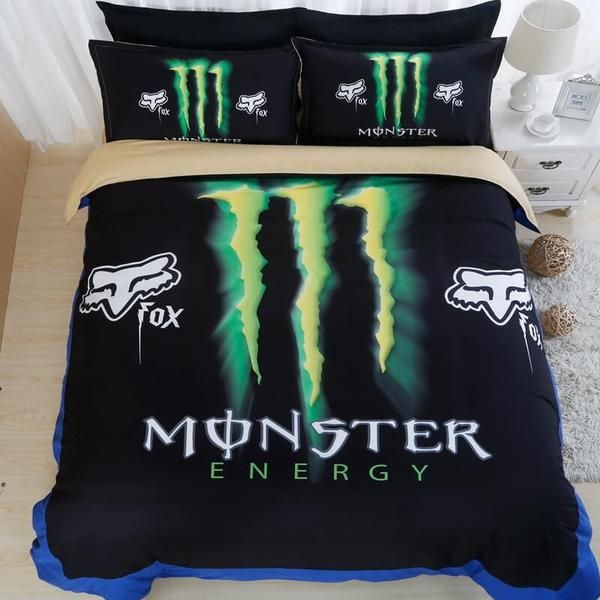3d monster energy duvet cover set 4pcs bedding set bedroom sheets pillowacse bedclothes. Black Bedroom Furniture Sets. Home Design Ideas