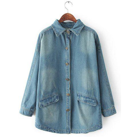 Stylish Turn-Down Collar Long Sleeve Frayed Vintage Denim Women's Coat