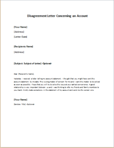 Nice Disagreement Letter Concerning An Account