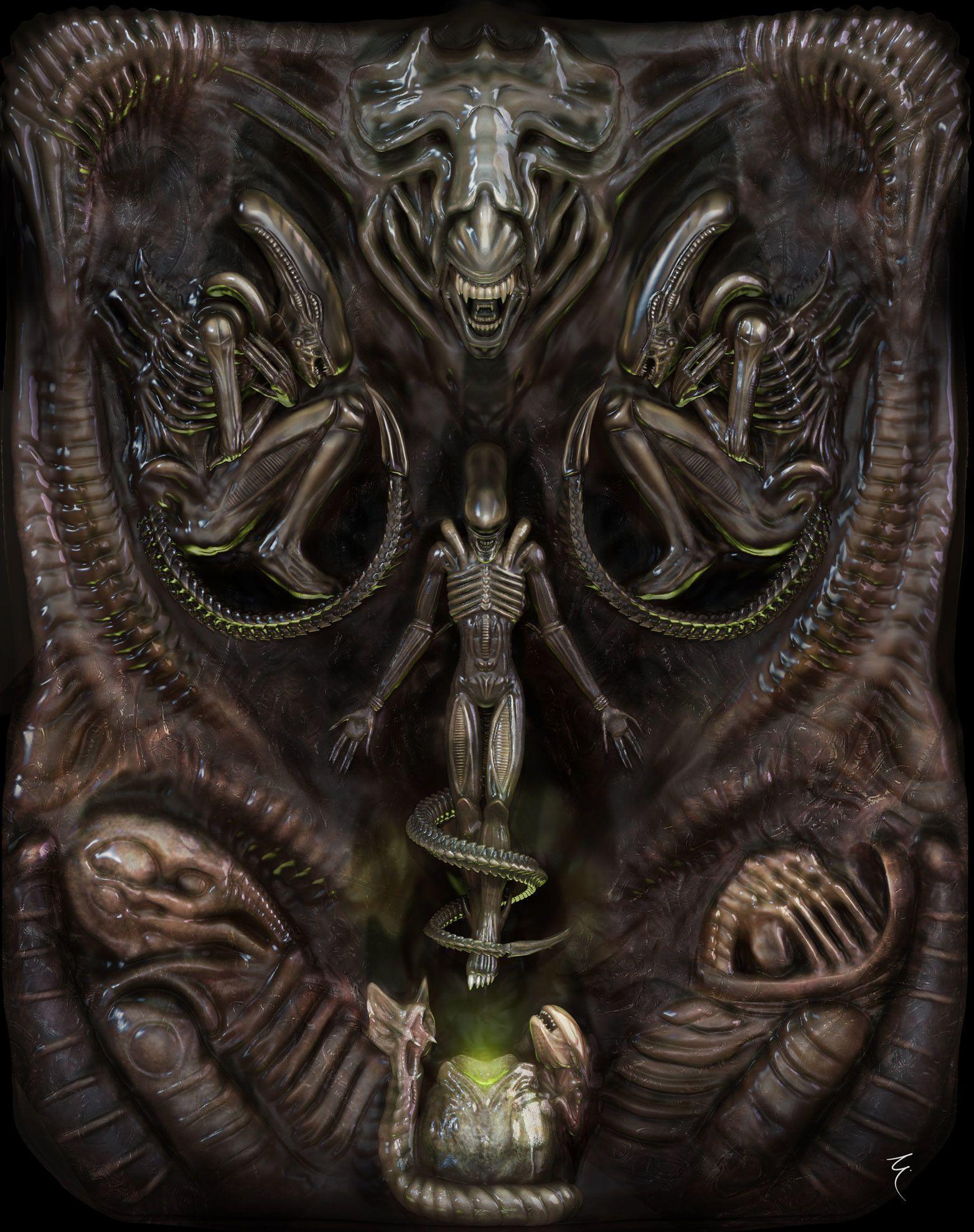 918fa7ad Nice Alien inspired painting   Ripley & The Xenos   Alien art, Alien ...