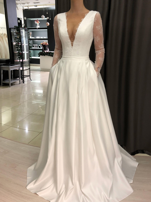 Mikado Wedding Dress Ester By Olivia Bottega Long Sleeve Etsy Luxury Wedding Dress Wedding Dress Sleeves Wedding Dress Long Sleeve [ 3000 x 2250 Pixel ]