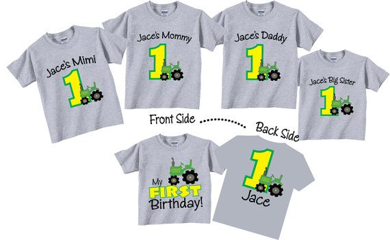 1st Birthday Shirts For Mom DadGrandma Or Grandpa And Sibling Family Set With Tractor Tees