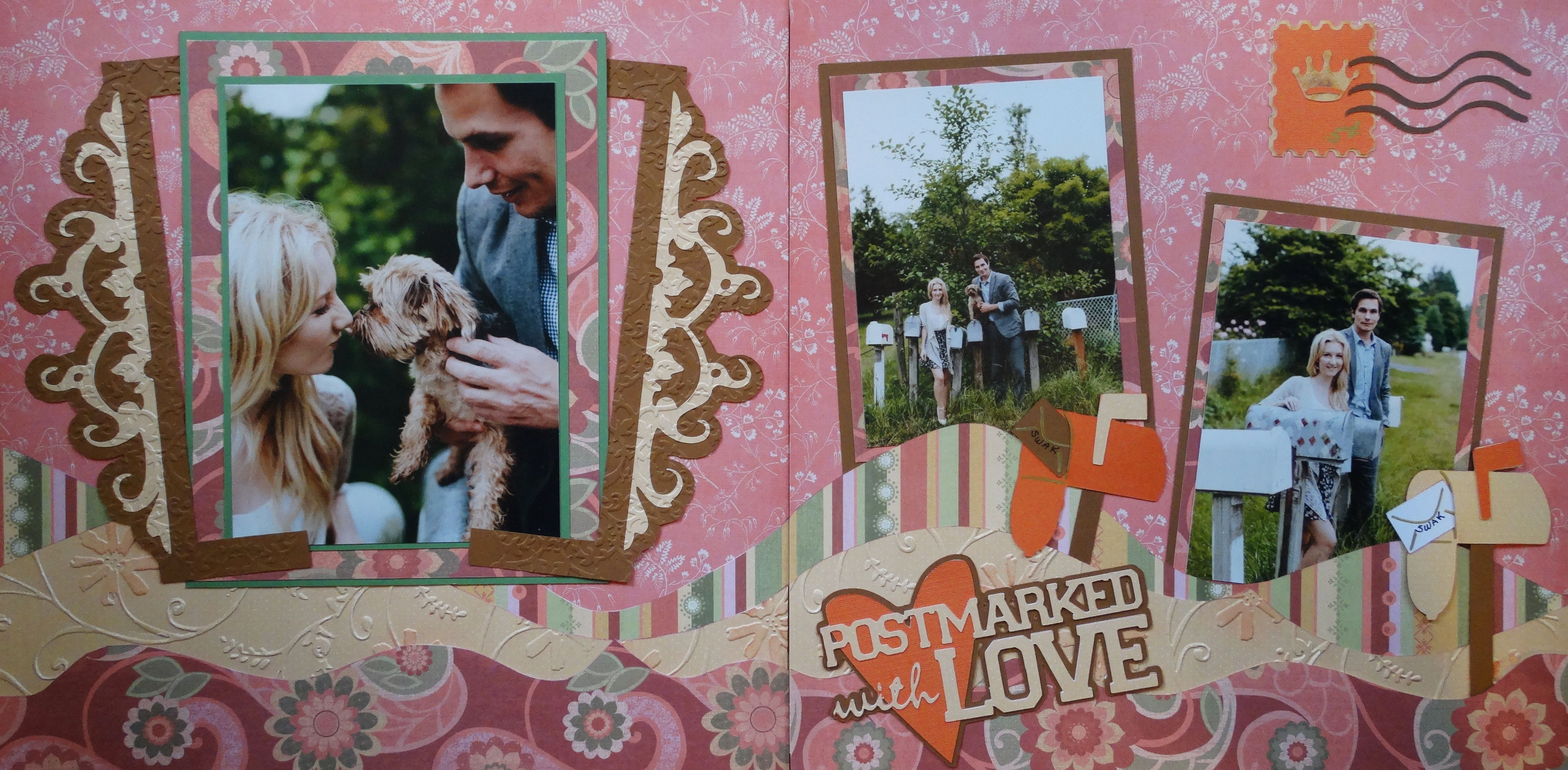 Scrapbook ideas engagement - Engagement Scrapbook Page Postmarked With Love Engagement Photos 2 Page Layout With Mail
