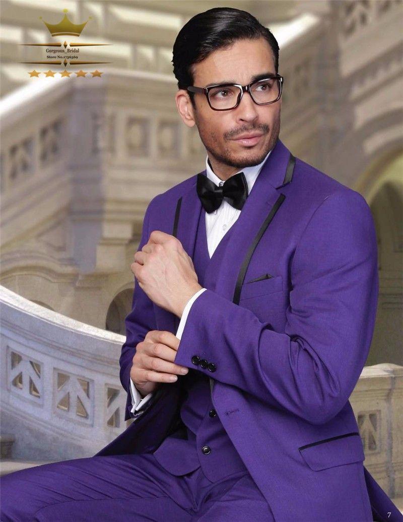 Custom Made Purple Groom Blazer Tuxedos Groomsmen Men\'s Wedding Prom ...