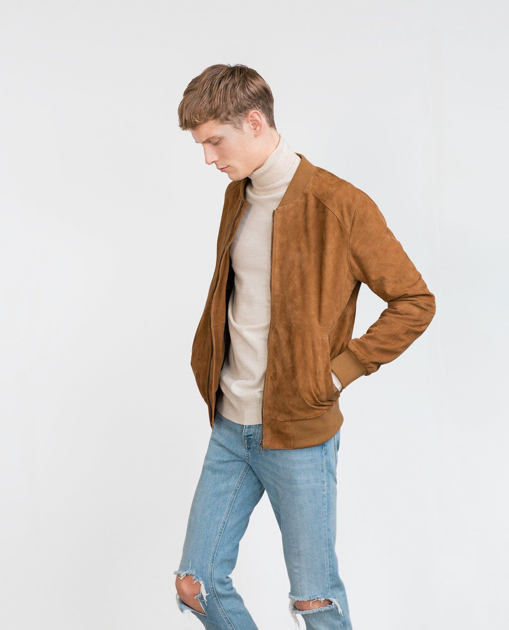 Suede Bomber Jacket View All Man New In Mens Casual Outfits Suede Bomber Jacket Bomber Jacket Outfit