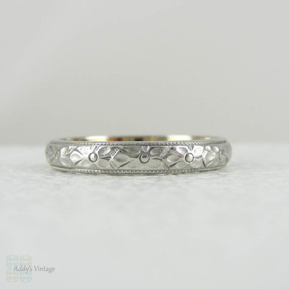 Antique Platinum Yellow Gold Engraved Wedding Ring Orange