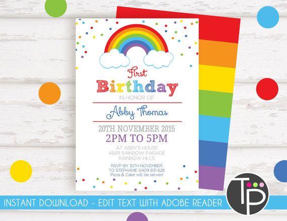 RAINBOW INVITATION Instant Download Invitations Rainbow Party