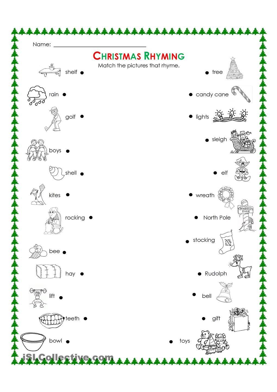 Christmas rhyming | Teaching ideas | Pinterest | Worksheets ...