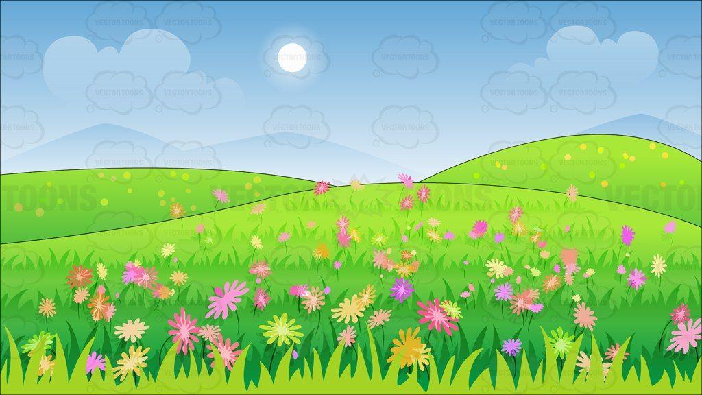Fondo Animado Campo Parque Full Hd Animate Background: A Beautiful Field Of Wild Flowers Background Cartoon