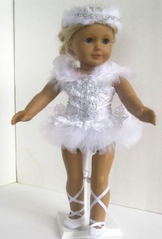 """Doll Clothes 18/"""" Shoes Cream White Ballet Dress Fits American Girl Dolls"""