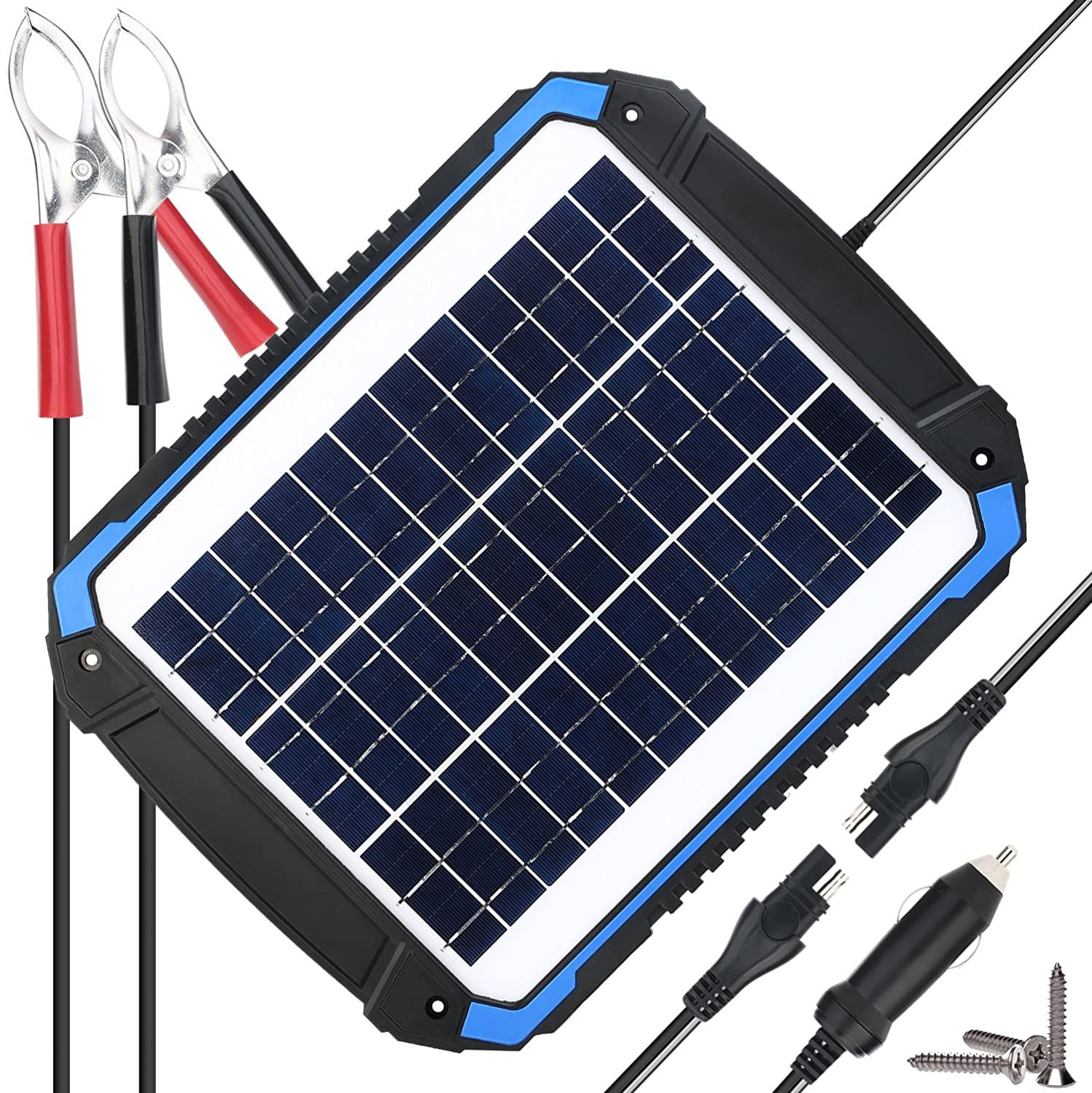 Suner Power 12v Solar Car Battery Charger And Maintainer Portable 12w Solar Panel Trickle Charging Kit For Automoti In 2020 Car Battery Charger Solar Car Car Battery