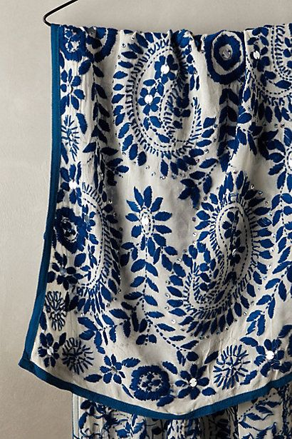 Mariacarla Embroidered Scarf | Anthropologie, Scarves and Embroidery