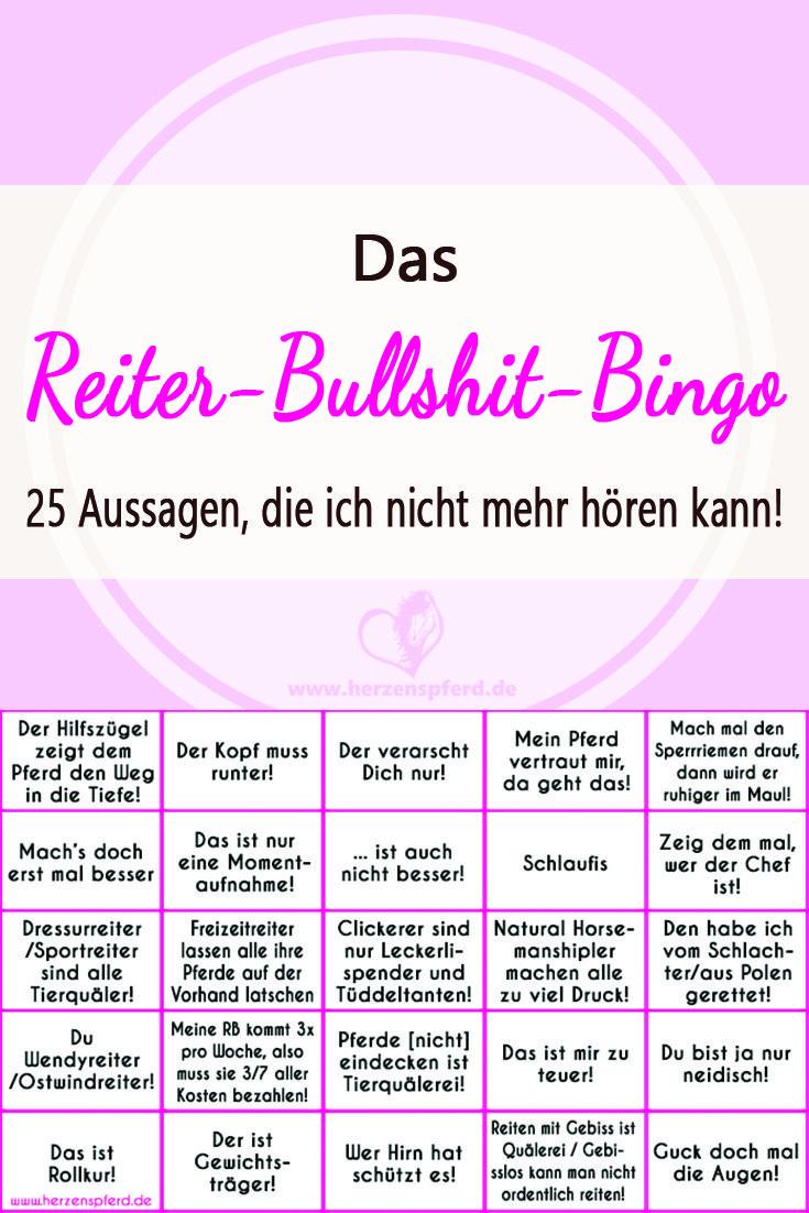 Das Reiter-Bullshit-Bingo mit 25 häufigen Aussagen von Reitern, die ...