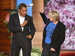Ellen dances with Barack Obama.