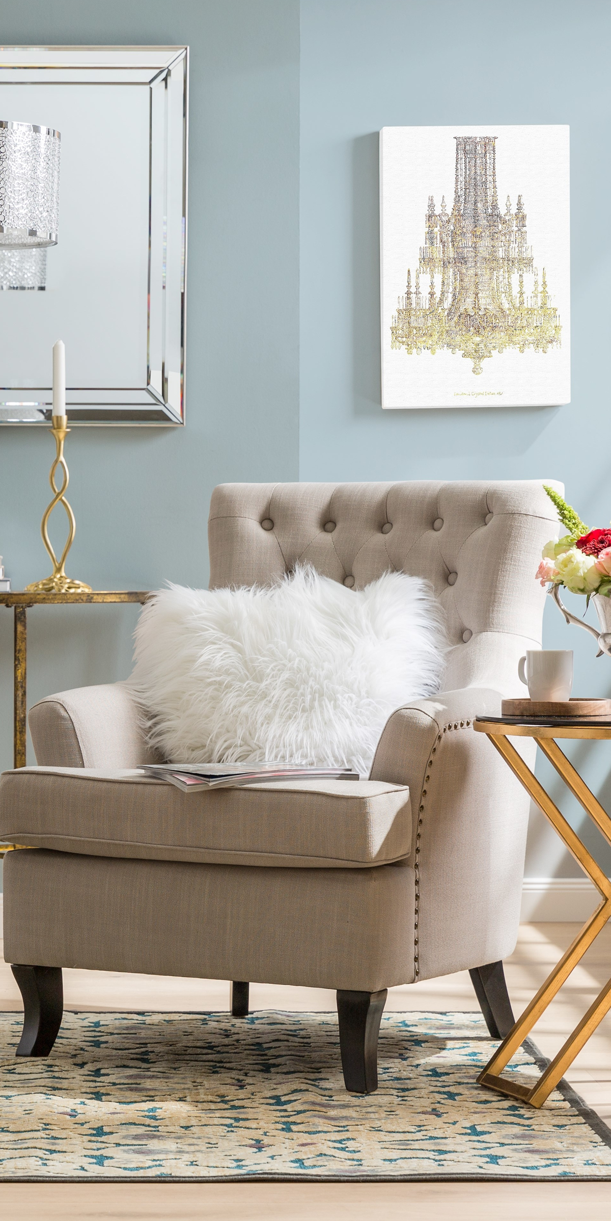 Armchair with buttontufted upholstery and nailhead trim