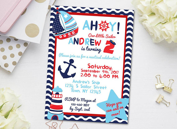 Nautical Birthday Invitation Sailor Ahoy Party Invite Boy Birthda