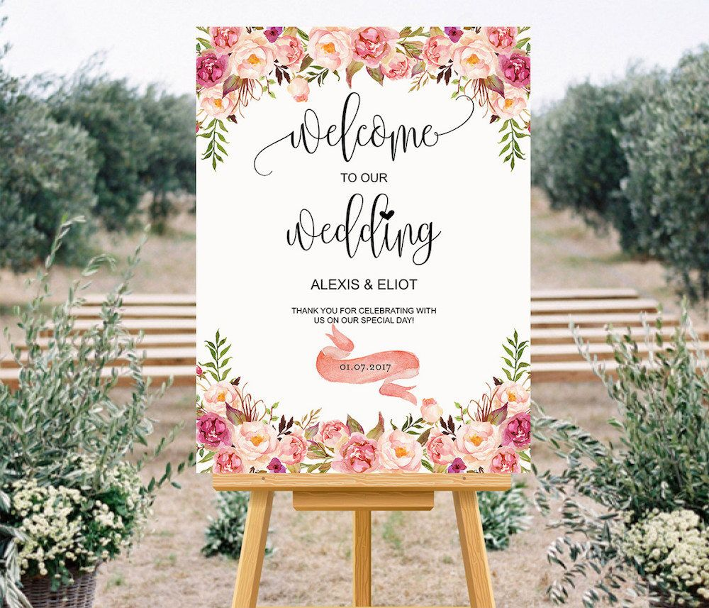 Printable Wedding Welcome Sign Templates Custom Fl Large Poster 24x36 Inch