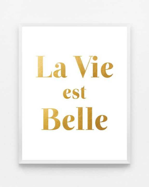 Gold La Vie Est Belle Life Is Beautiful Modern Wall Daniels Home