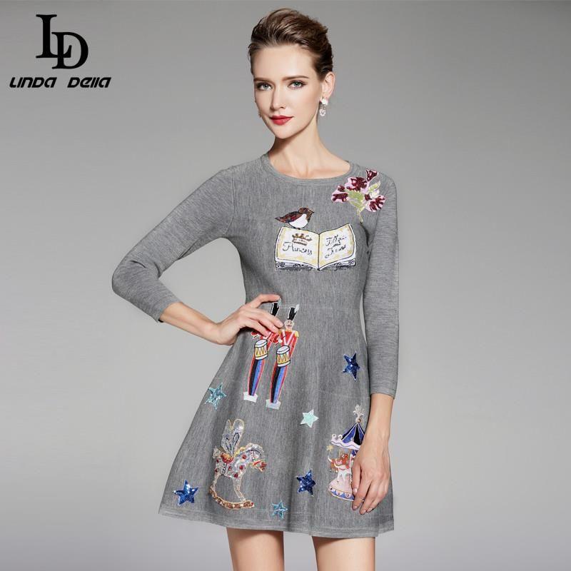 Runway Maxi Dress Autumn Winter Women Floor Length Embroidery Long ...