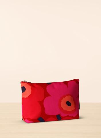 MARIMEKKO RUUT COSMETIC BAG RED, PINK  This canvas bag is lined with waterproof material to prevent spills and stains.  #unikko #cosmetics #cosmeticbag #bag #pouch #red #pink #black #poppy #poppies #marimekko #pirkkoseattle #pirkkofinland