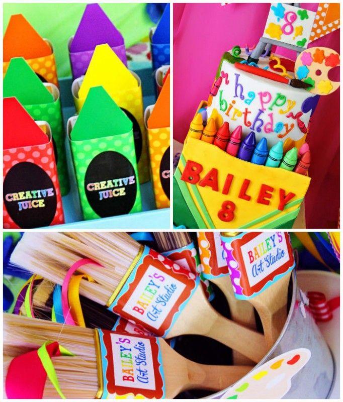una fiesta de cumpleaos inspirada en colores pinturas y crayolas