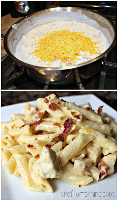 Chicken Bacon Ranch Pasta Recipe - My husband went back for THIRDS! #Bacon recipe | CraftyMorning.com
