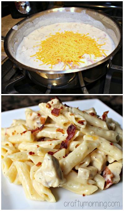 Chicken Bacon Ranch Pasta Recipe - My husband went back for THIRDS! #Bacon recipe | CraftyMorning.com