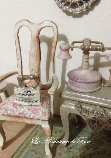 1/12 old iron miniature - dolls house - hand made - shabby chic