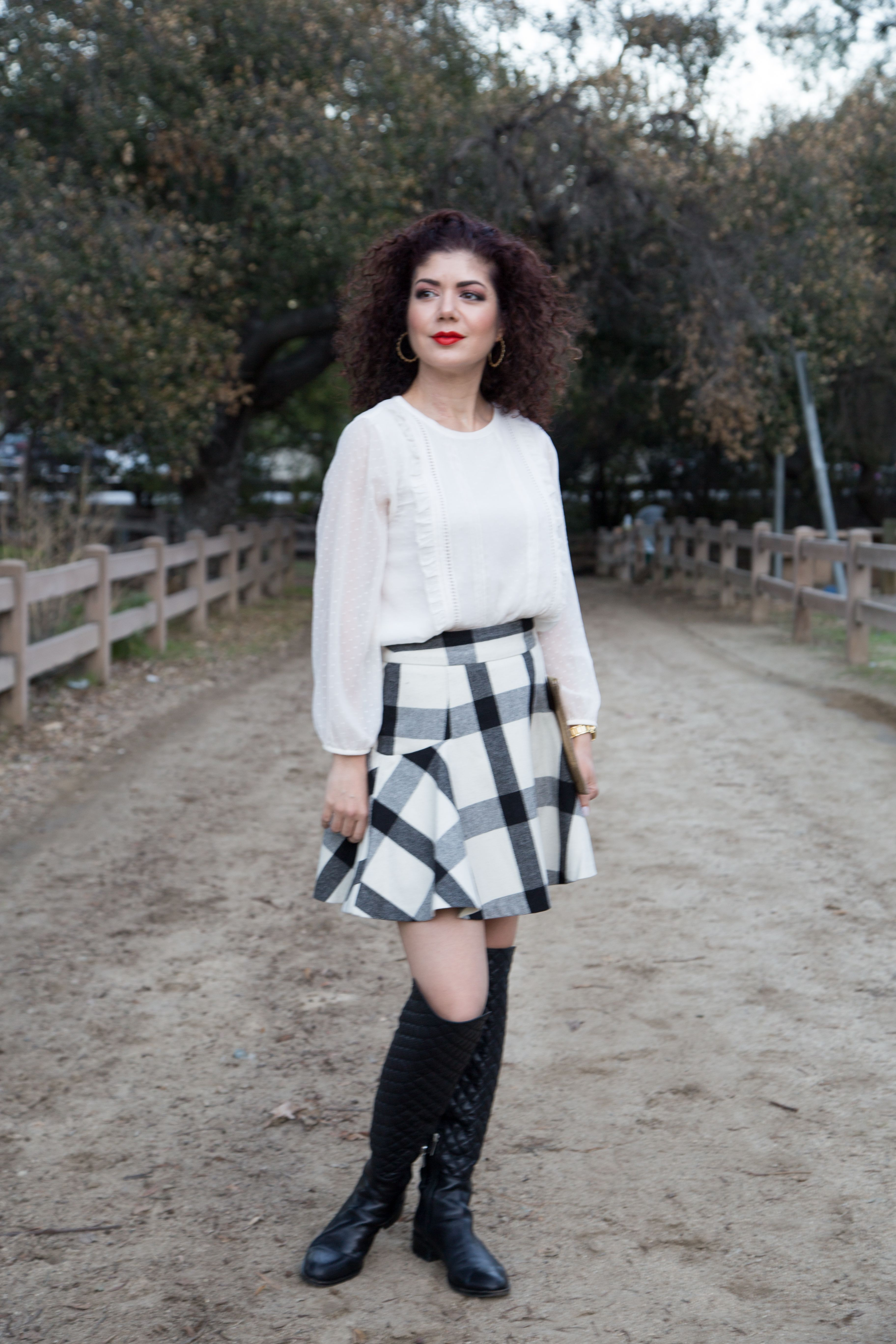05a304832 holiday party look | christmas outfit | winter outfit | skater skirt |  flared skirt | plaid skirt | mini skirt | over the knee boots | loft swiss  dot ruffle ...