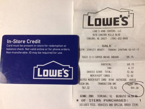 Coupons #GiftCards Lowe\u0027s $49430Merchandise In-Store Credit, Gift