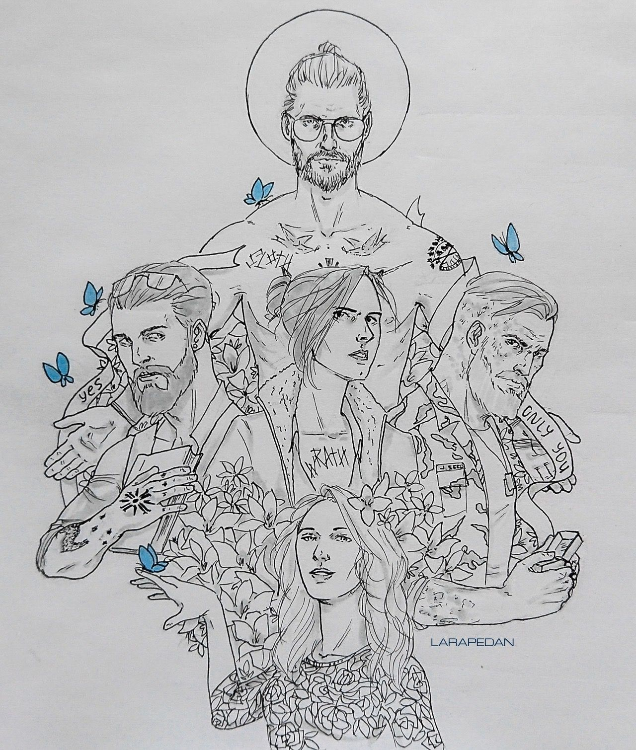 Far Cry 5 Faith Seed John Seed Jacob Seed Joseph Seed Game Sketch Art Far Cry 5 Crying Game Character Design