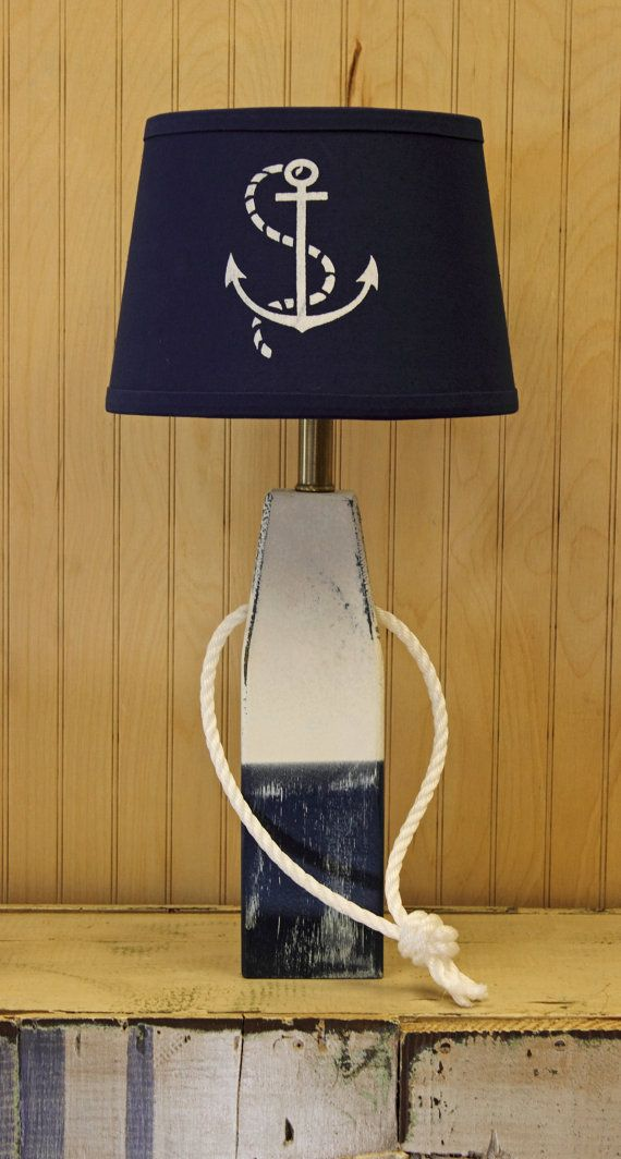 Wood Buoy Table Lamp Blue And White Distressed And By GNRTRADES