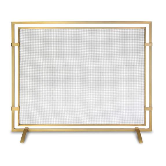 Sinclair Single Panel Firescreen Brass Fireplace Accessories Fireplace Tool Set Fireplace Screens