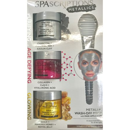 Spascriptions Metallic 3pk Jar Masks Walmart Com Skin Brightening Charcoal Face Mask Foot Detox Soak