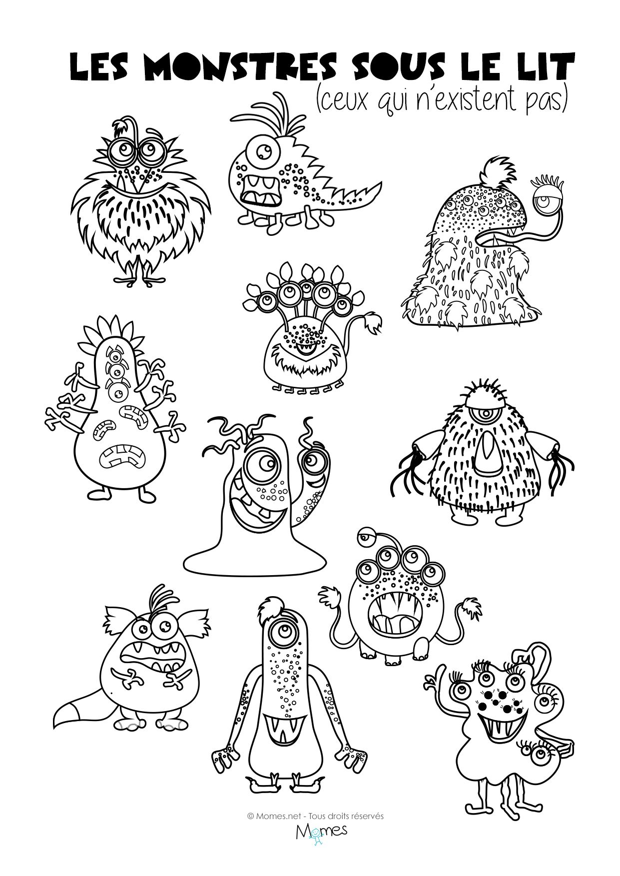 Coloriages Les Monstres Sous Le Lit Jeux à Imprimer French