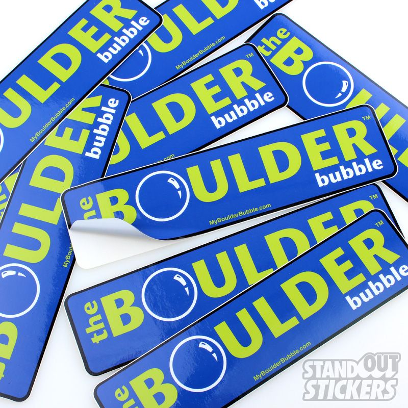 The boulder bubble custom rectangle stickers