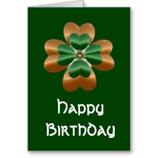 Golden Irish Shamrock Happy Birthday Card Zazzle Com Happy Birthday Cards Happy Birthday Irish Birthday Cards