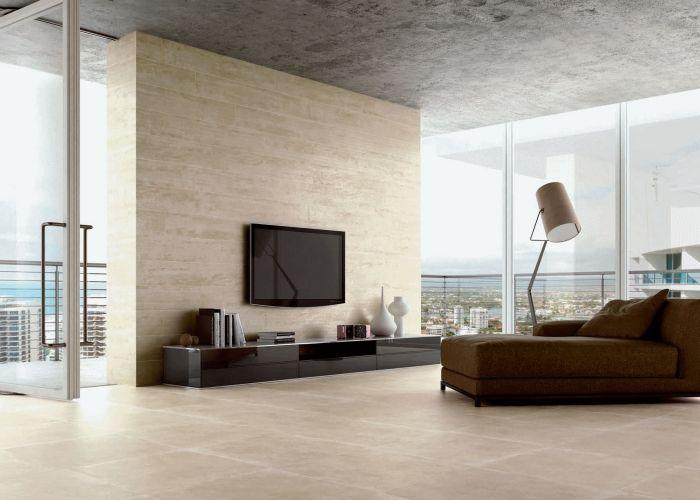 Fliesen in Sandsteinoptik wohnzimmer-wand-boden-SANDSTONE-ICE - alternative zu küchenfliesen