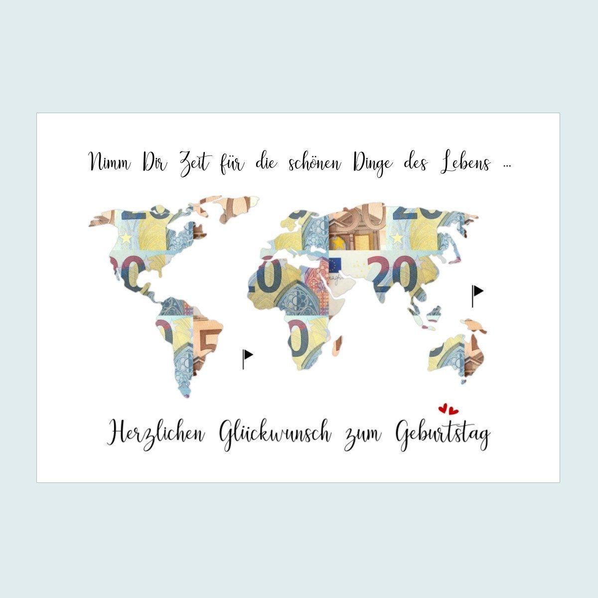 Geldgeschenk Zum Geburtstag Weltkarte Geburtstagsgeschenk Poster